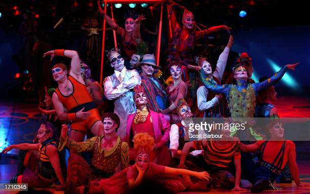 A group of performers pose on stage during a dress rehearsal of Cirque du Soleil's 'Saltimbanco' January 5 2003 in London United Kingdom Saltimbanco...