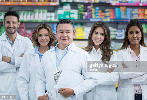 Group of pharmacists at the drugstore