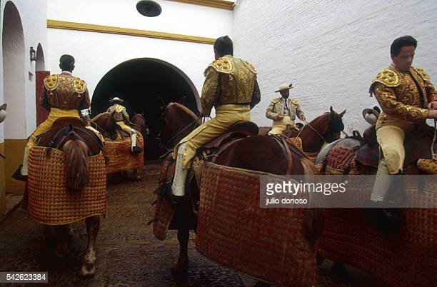 A group of picadors wait to enter the ring during a bullfight at the Plaza de Toros la Maestranza in Seville The event is taking place during Feria...