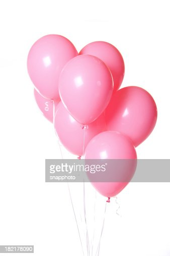 Group of Pink Balloons on White Background Bunch