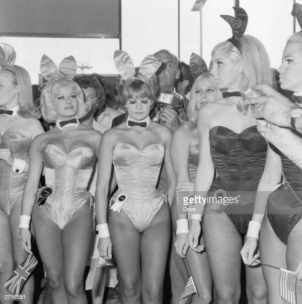 A group of Playboy Bunny Girls from London's Playboy Club waiting for Hugh Hefner the American owner of the 'Playboy' business empire at London...