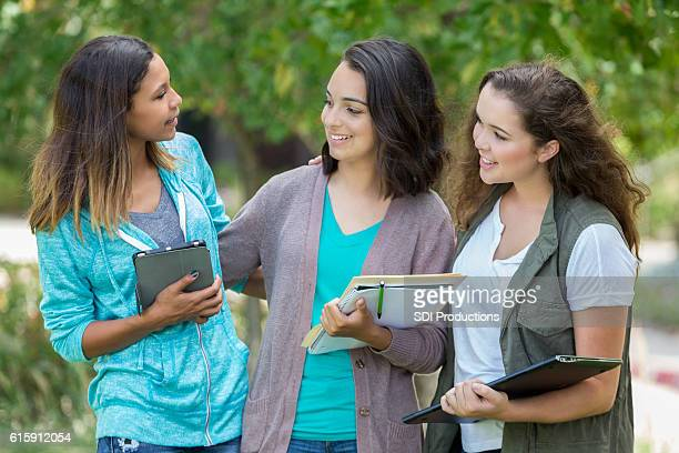 Group of pretty college age girls hanging out together