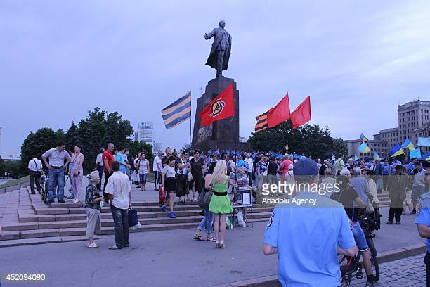 A group of proRussian supporters stage a rally at Lenin Square in Kharkiv Ukraine July 13 2014