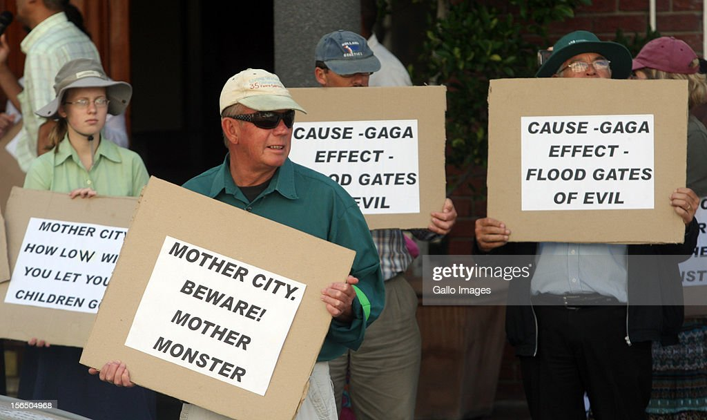 A group of protesters outside Big Concerts' office building in Gardens on November 16, 2012 in Cape Town, South Africa. They protested against Lady Gaga performing in South Africa. This gathering follows a protest that was held by the South African Council of Churches in Pretoria last week.