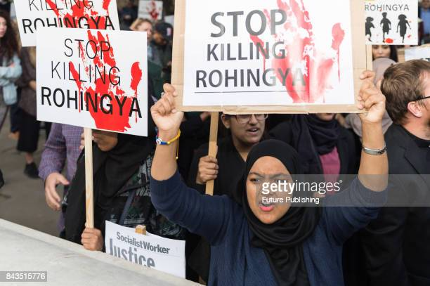 A group of protestors staged an emergency demo on Whitehall near Downing Street to protest against ethnic cleansing of the Rohingya people in Myanmar...