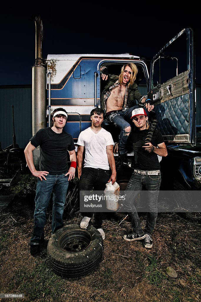 Group of Punks in Old Truck