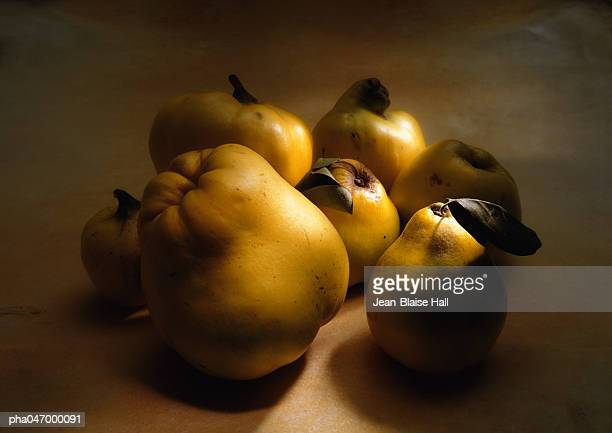 Group of quinces of different sizes, close-up
