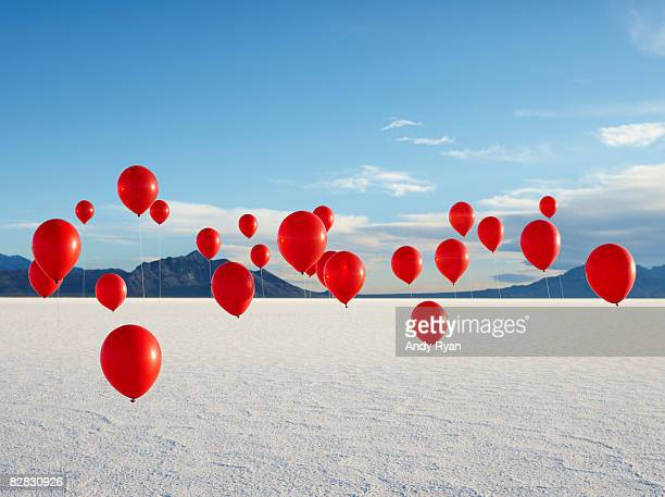 Group of Red Balloons on Salt Flats.