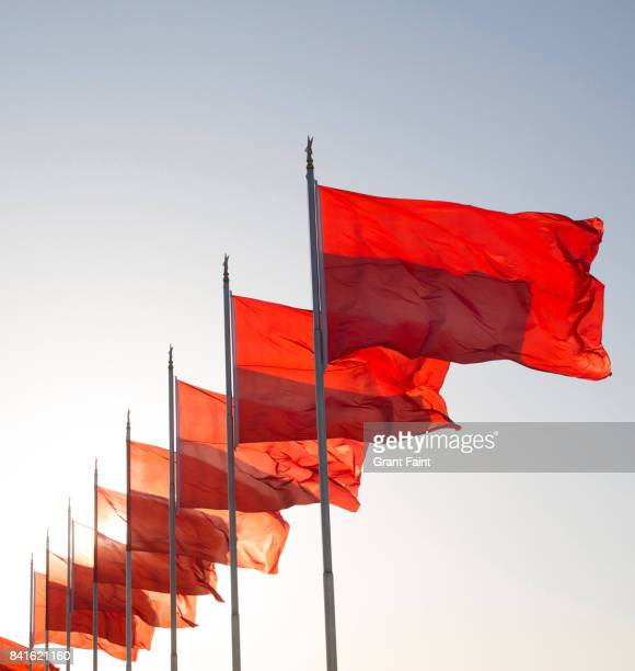 Group of red flags in morning light.
