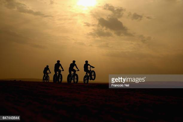 A group of riders compete during the Al Adaid Desert Challenge on March 3 2017 in Doha Qatar