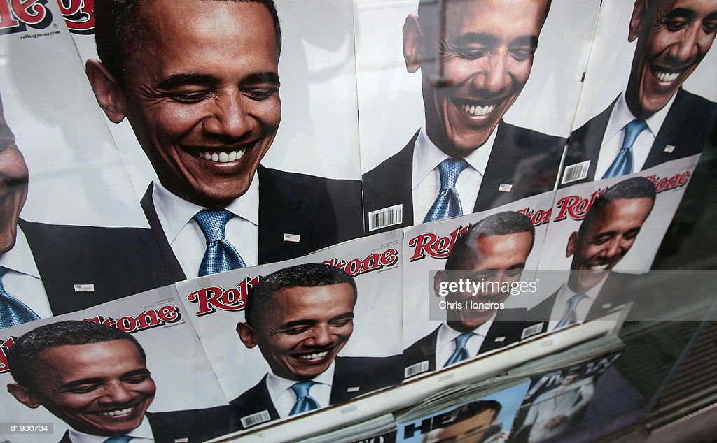 A group of Rolling Stone magazines with <a gi-track='captionPersonalityLinkClicked' href=/galleries/search?phrase=Barack+Obama&family=editorial&specificpeople=203260 ng-click='$event.stopPropagation()'>Barack Obama</a> on the cover are seen at a magazine shop July 14, 2008 in New York City. This week's edition of The New Yorker magazine with a satirical illustration on the cover depicting Democratic presidential candidate Sen. <a gi-track='captionPersonalityLinkClicked' href=/galleries/search?phrase=Barack+Obama&family=editorial&specificpeople=203260 ng-click='$event.stopPropagation()'>Barack Obama</a> (D-IL) dressed in traditional Arab garb and his wife Michelle Obama dressed in military fatigues and carrying an assault rifle is generating controversy.