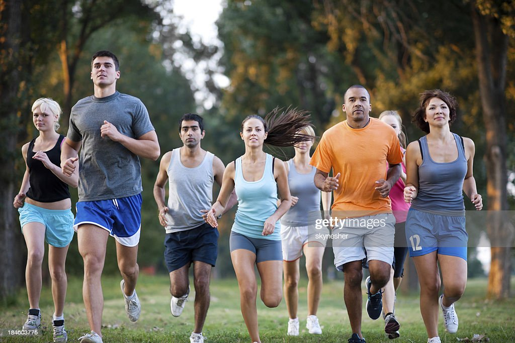 group of runners in a cross country race