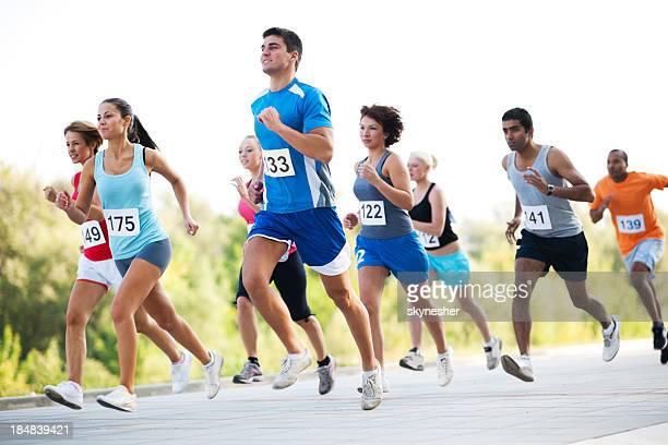 Grupo de corredores em uma cruz país raça.
