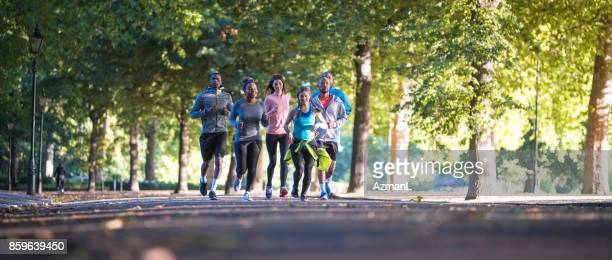 Group of runners in a park