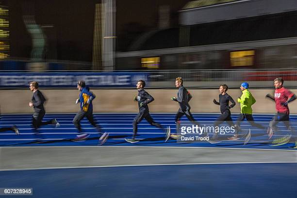 A group of runners training