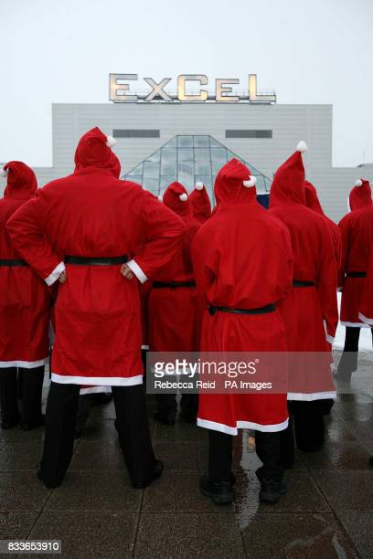 A group of Santas visit the Toy Fair at London's ExCel centre in preparation for Christmas 2007