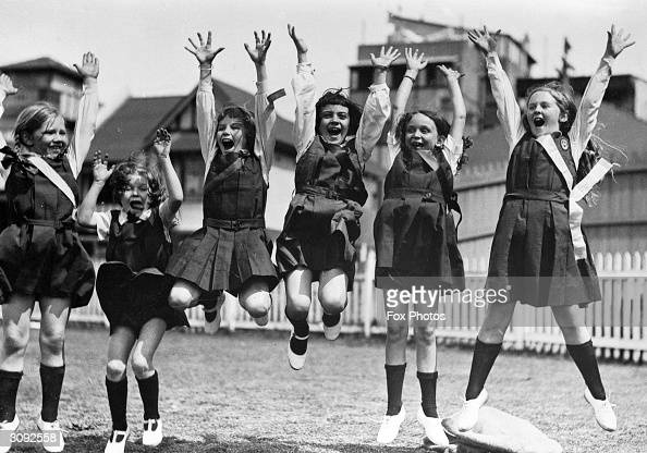 A group of schoolgirls from a Sydney suburban college put their hearts into their traditional 'warcry' on sports day