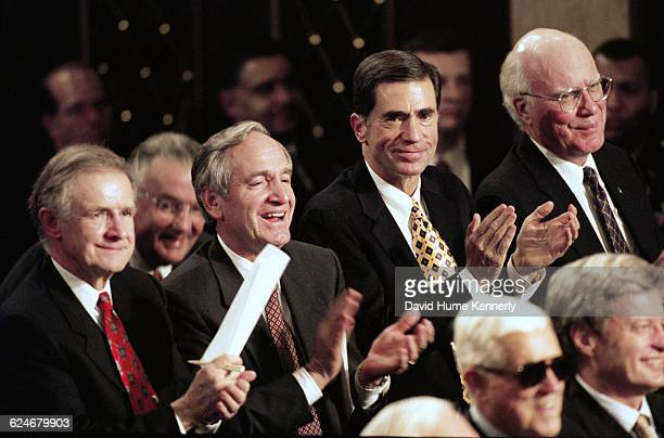 A group of senators including Pat Leahy listen to President Bill Clinton's State of the Union speech before a joint session of Congress on January 20...