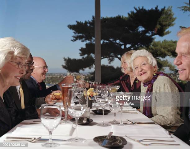 Group of senior adults drinking cocktails in restaurant