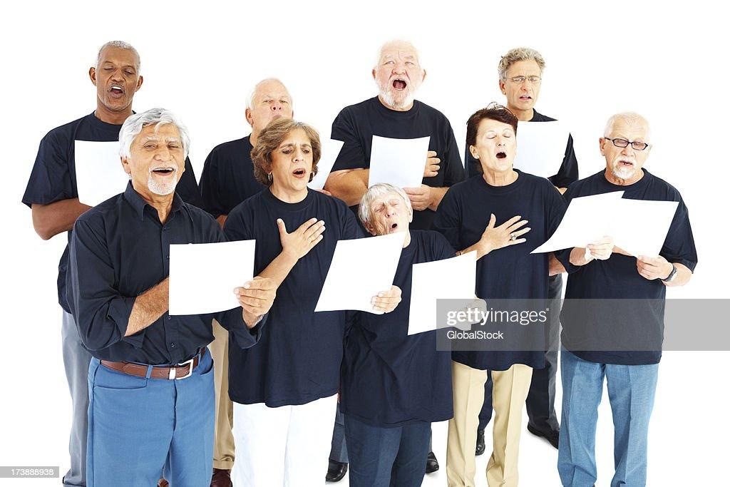 Group of seniors singing hymns