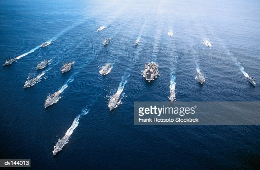 Group of ships in Persian Gulf, including USS John F Kennedy (CV-67) Aircraft Carrier