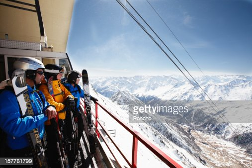 Group of Skier at Mountain Top of Cable Car : Stock Photo