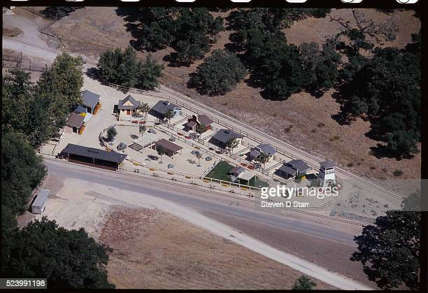 A group of small houses stand together at Michael Jackson's home Neverland Ranch Neverland is located in the Santa Ynez Valley in Santa Barbara...