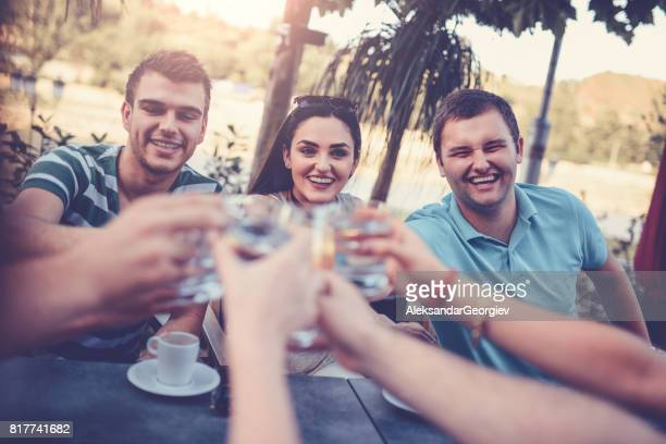 Group of Smiling Friends Toasting at Celebration Party