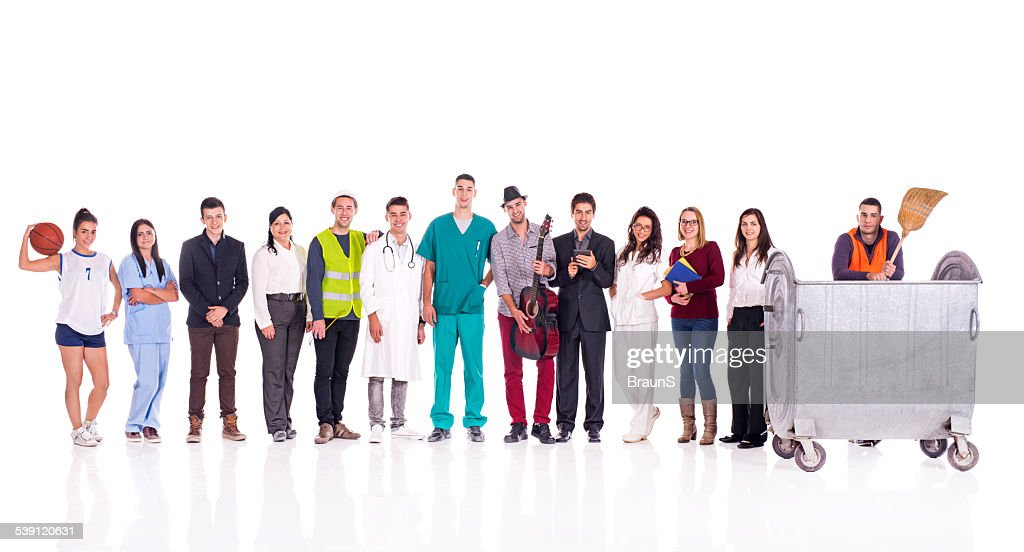 Group of smiling people with different occupations. : Stock Photo