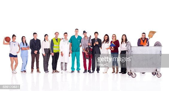 Group of smiling people with different occupations.