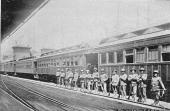 A group of officers stand near a railway carriage in an emergency camp during the Pullman Strike in Chicago July 1984 The strike began when workers...