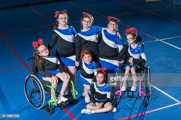 Group of special needs girls on cheerleading team
