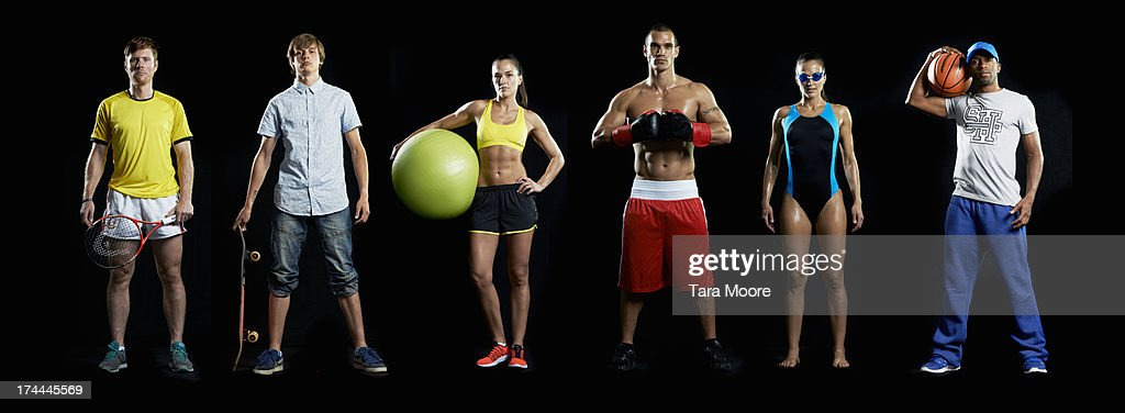 group of sports people in line