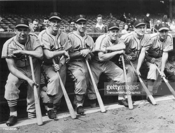 ST LOUIS OCTOBER 4 1942 A group of St Louis Cardinals pose for a portrait in Sportsmans Park in St Louis before the start of game one of the 1942...