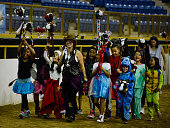 A group of stick horse participants try for a new Guinness World Record attempt for the largest stick horse parade during the Denver Queen City Horse...