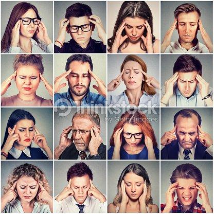 group of stressed sad people men and women having headache : Stock Photo