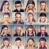 Multiethnic group of stressed sad people men and women having headache. Human face expression emotion