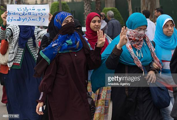A group of student stage a protest for their executed anticoup friend Mahmoud Ramazan in Cairo University Giza on March 10 2015