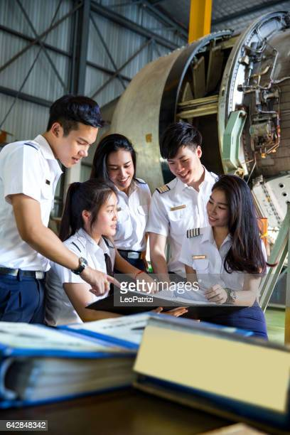 Group of Students at Aviation University during practical class