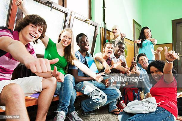 Group of students enjoying during the school break.