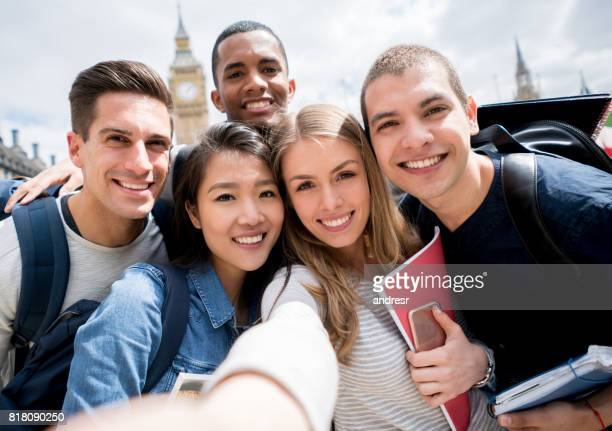 Group of students in London taking a selfie