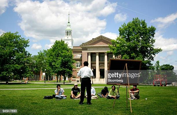 A group of students meet on the lawn outside Webster Hall on the campus of Dartmouth College the smallest school in the Ivy League in Hanover New...