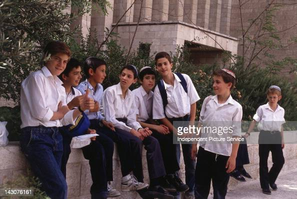 Group of students outside the Great Synagogue of Jerusalem Israel