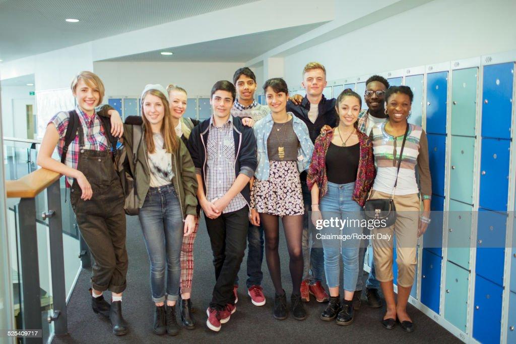 Group of students posing in corridor