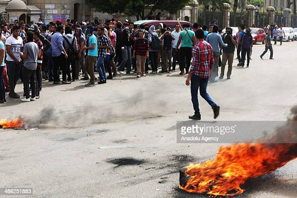 A group of students stage an anticoup protest in Cairo University Egypt on April 23 2014