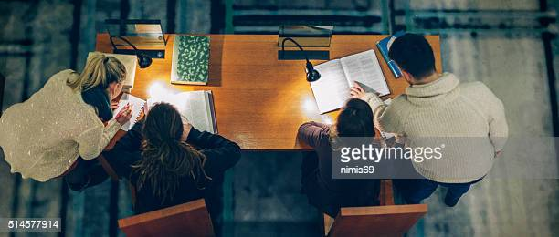 Group of Students Studying in a Library
