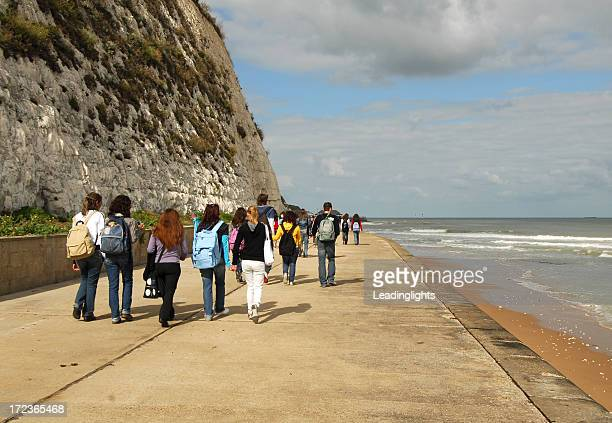 Group of Students Walking the Foreshore, Kent