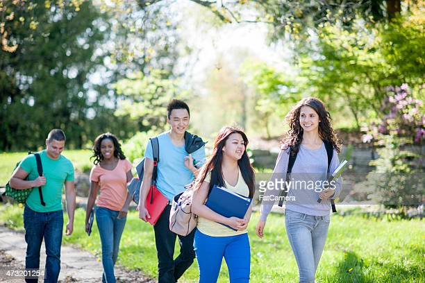 Group of Students Walking to Class