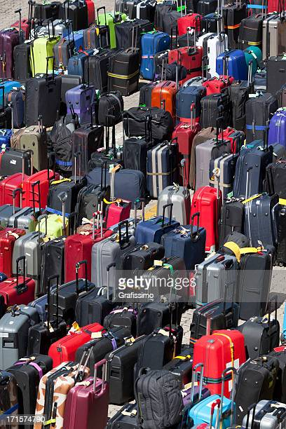 Group of suitcases luggage in rows