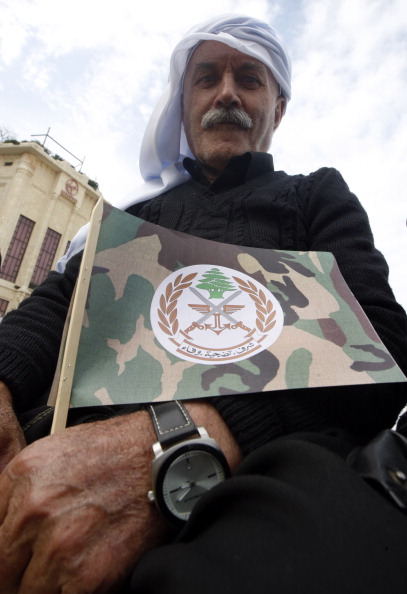 group of supporters of Lebanese Army gather at the Martyrs' Square ...